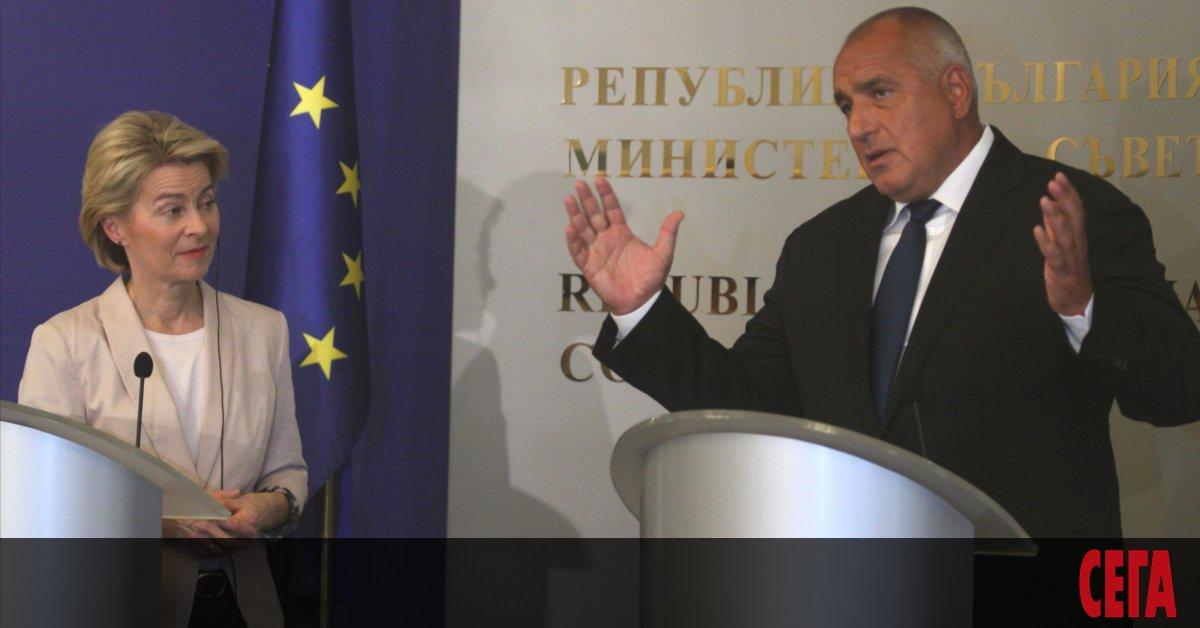 Премиерът Бойко Борисов увери председателят на Европейката комисия Урсула фон