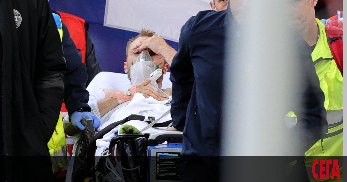 Халфът на датския национален отбор Кристиян Ериксен, който колабира в